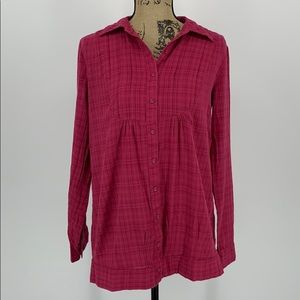 Maurices Tunic  Button Down Pink & Red Top